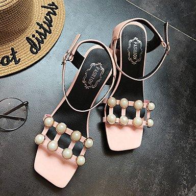 LvYuan Mujer Sandalias Confort PU Verano Casual Vestido Paseo Confort Perla Hebilla Tacón Robusto Blanco Negro Rosa claro 5 - 7 cms light pink