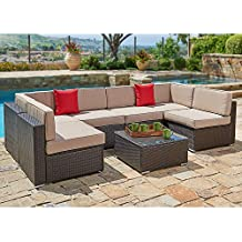 SUNCROWN Outdoor Furniture 7-Piece Wicker Sofa Set w/Brown Washable Seat Cushions & Modern Glass Coffee Table | Patio Backyard, Pool & Waterproof Cover