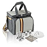 PREMIUM Extra Large Picnic Basket keeps food Hot/Cold for 12 Hours UPGRADED lunch tote For 4 People Picnics includes stainless steel spoons forks plates napkins wine glasses hamper set with Flatware