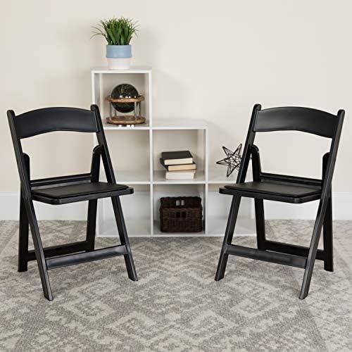 Amazon.com: - - Silla plegable de resina negra con asiento ...
