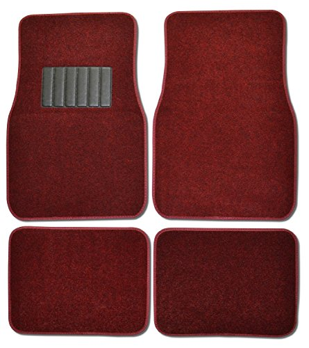 Premium Carpet 4PC Front & Rear Driver Passenger Floor Mats Cars Trucks Sedans SUVs (Red)