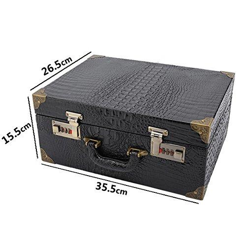 NACHEN Barber Box Case Organizer Hairstylist Portable Suitcase Password Lock Storage Box,Brown,35.5X26.5X15.5Cm by NACHEN (Image #2)