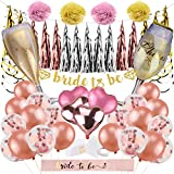 Satkago Bachelorette Party Decorations, 64Pcs Bachelorette Party Supplies Bridal Shower Supplies Kit -Bride to Be Banner, Sash, Balloons, Pom Poms Flowers, Hanging Swirl, Tattoo Sticker, Paper Tassel