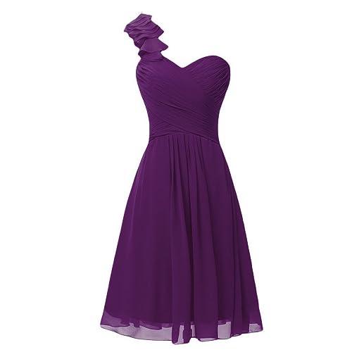 Lemai One Shoulder A Line Knee Length Short Corset Chiffon Prom Bridesmaid Dresses