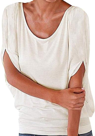 Camiseta Casual Holgada de Mujer Tamaño Grande Elegante Color SóLido Cuello Redondo Blusa Camisa Mujeres Suelto Verano Tops Casual Fiesta T-Shirt Playa riou: Amazon.es: Ropa y accesorios