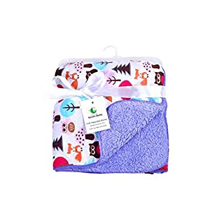 Genio Baby Sherpa Fleece Baby Blanket Unisex 30 x 40 Soft- Perfect for Swaddling and Strolling, Owl Baby Blankets, Receiving Blankets for Girls (Purple)