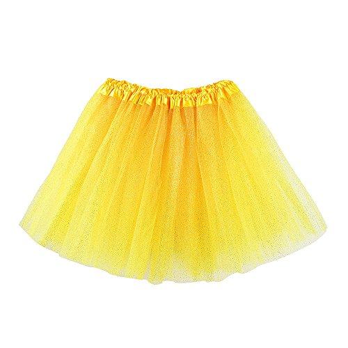 SUNBIBE 3-8 Years Old Girls Kids Baby Dance Fluffy Tutu Tulle Skirt Bling Pettiskirt Ballet Fancy Skirt (Yellow) ()