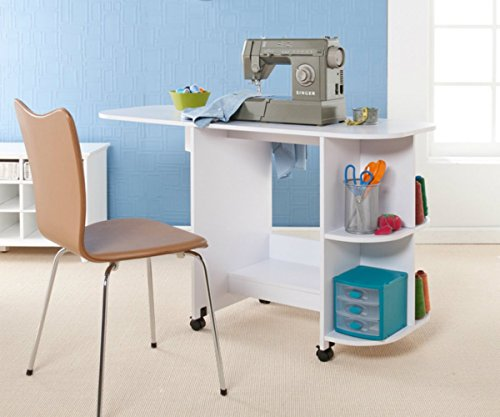 Rolling sewing machine craft table drop leaf white folding desk rolling sewing machine craft table drop leaf white folding desk storage shelves watchthetrailerfo