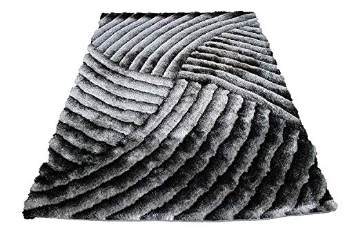 8×10 Black White Gray Grey Off White Cream Silver Bright White Shiny Shag Shaggy Fluffy Fuzzy Furry Geometric Striped Woven Braided Modern Contemporary Hand Knotted Medium Pile SAD 259 Black White For Sale