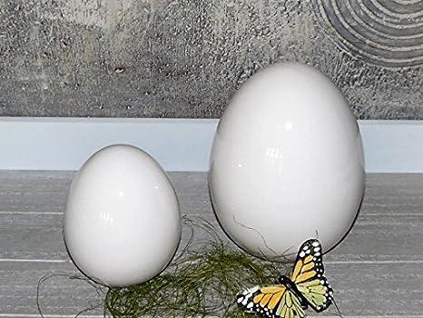 Uova Di Pasqua Ceramica.Kuech Endeko Dekoeier Set 2 Uovo In Ceramica Bianca Soprammobile