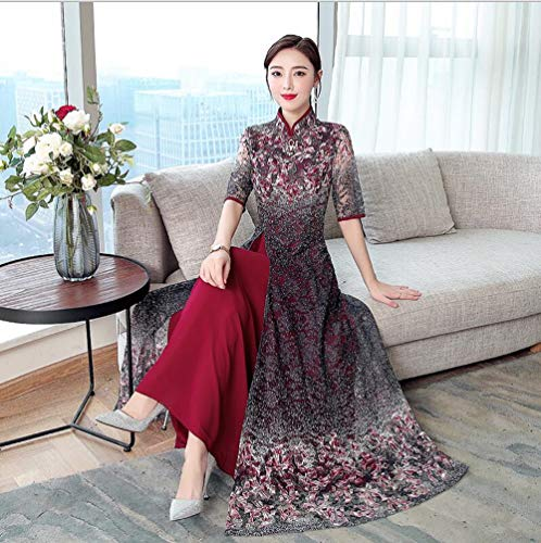 - Ao Dai Pattern - 2019 Summer Retro Vietnamese Tradition Long Dress Floral Pattern Ao Dai Lace Dress Black Size M L XL 2XL 3XL 4XL