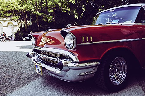Home Comforts LAMINATED POSTER Red And Gray Vintage Car On G