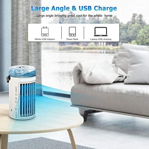 Climatiseur Portable, WELTEAYO Personnel Mini Refroidisseur d'Air Ventilateur de Climatisation Mobile Silencieux Air Humidificateur avec 3 Vitesses pour Bureau Chambre,7 Couleurs (480ML)