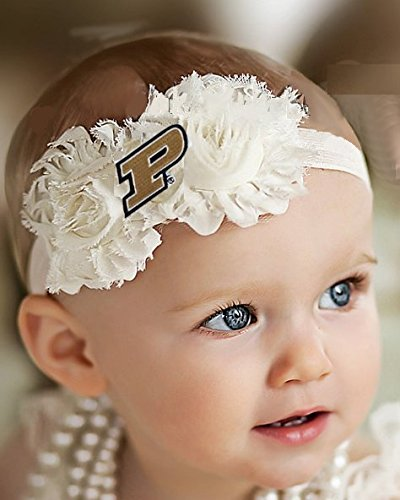 Purdue Boilermakers Baby/Toddler Shabby Flower Hair Bow Headband (Toddler/ 16