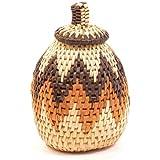 Fair Trade Zulu African Ilala Palm Herb Basket 5-7'' Tall, #34070