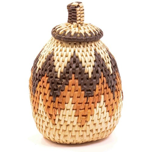 "Fair Trade Zulu African Ilala Palm Herb Basket 5-7"" Tall, 34070"