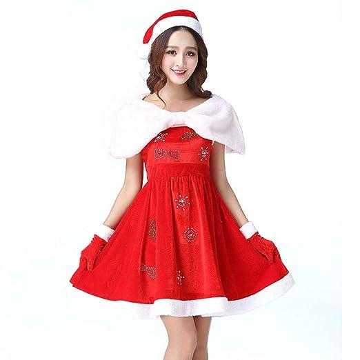 Lingqiqi Disfraz de Santa Claus Disfraz de Santa para Mujer ...