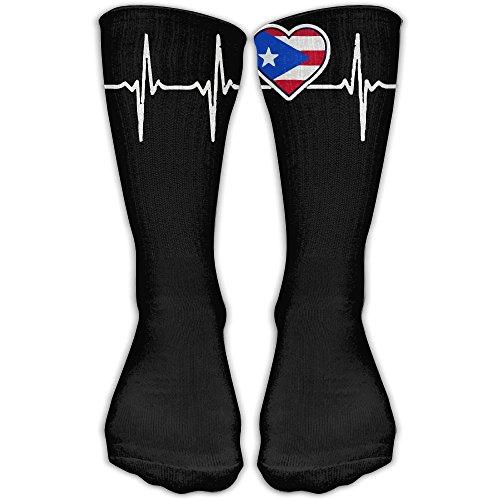 Puerto Rico Heartbeat Knee High Socks Sport Long Sock For Women And Men | Baseball Sport Long - Australia Shoes Online Rivers