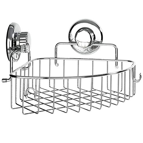 HASKO accessories - Corner Shower Caddy with Suction Cup - Stainless Steel Basket for Bathroom Storage - Corner Basket Large Shower