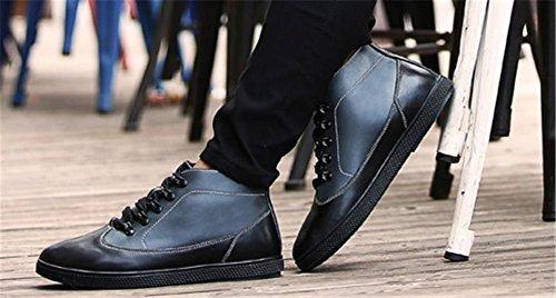 cinturino black con stivali 45 in uomo taglia pelle Brevi alla nero con marrone alla in pelle 39 da cappuccio casual caviglia CPqwXnR