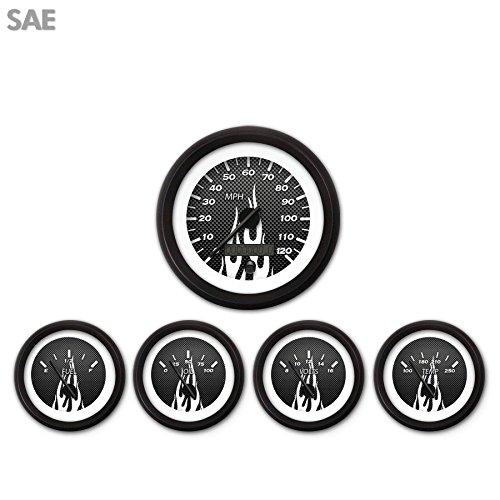 Black Modern Needles, Black Trim Rings, Style Kit Installed Aurora Instruments 1833 Carbon Fiber White Flame SAE 5-Gauge Set