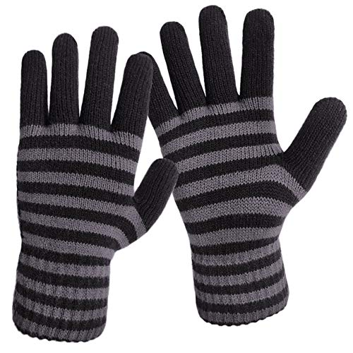 - LETHMIK Thick Striped Knit Gloves,Mens&Womens Unique Knitted Warm Winter Gloves Black