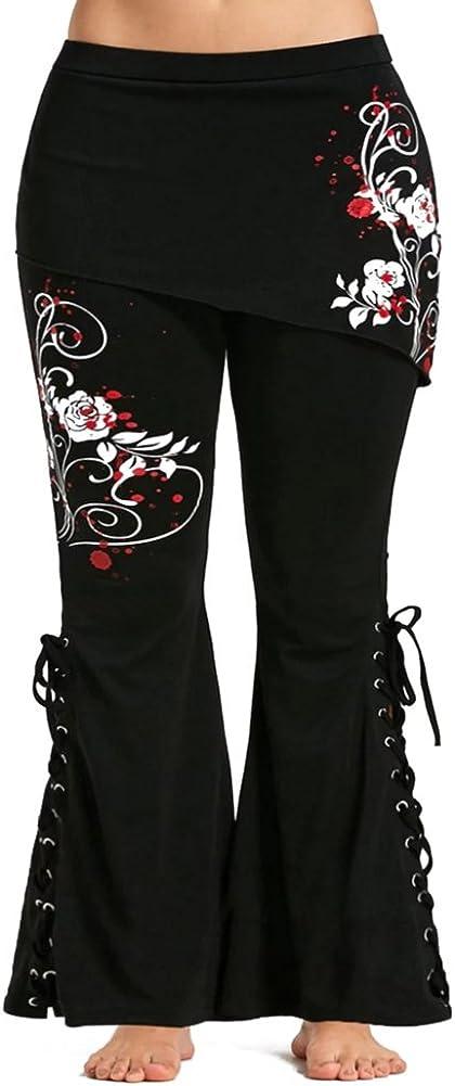 Juleya Pantalon Taille Plus Pantalons Longs Pantalon Vintage avec Mini-Jupes Taille Haute Pantalon Noir Leggings /Évas/é R/étro Gothique D/écontract/ée