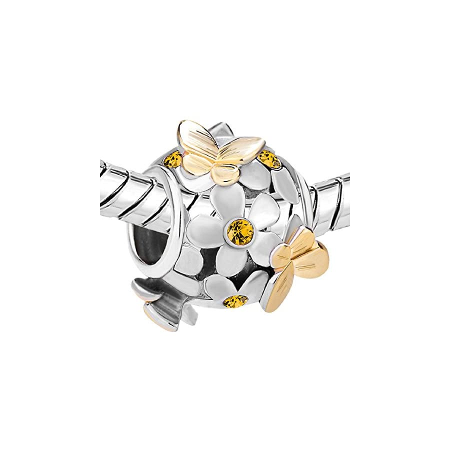 Flying Butterfly Flower Golden 925 Sterling Silver Charm Crystal Bead Fits European Charms (Topaz November Birthstone)