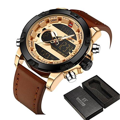 Meetloveyou Men Sport Watches Men's Quartz LED Analog Clock Man Military Waterproof Wrist Watch relogio masculino Gold