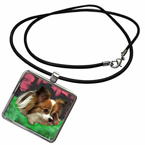 3dRose Dogs Papillon - Papillon - Necklace With Rectangle Pendant (ncl_4159_1)