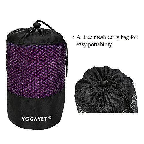 "YOGAYET Skidless Hot Yoga Towel Ultra Absorbent Microfiber Non Slip Mat Towels Premium Mat-Size 72""×24.5"" Grip Design Machine Washable(Purple)"