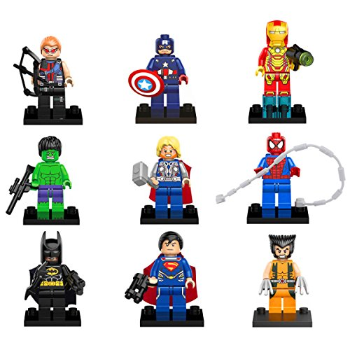 HappyFly Set Of 9 Compatible Lego Superheroes Minifigures include Superheroes of Marvel and DC Comics with Tools, Batman, WolverineThor, Ironman,Spiderman, Hulk, Captain America