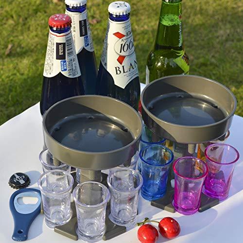 6 Shot Glass Dispenser And holder,Shots Dispenser Six Ways,Dispenser for Filling Liquids,Bar Shot,Cocktail Dispenser,Dispenser with Slogan,Drinking Games Wine Dispenser (grey transparent cups)