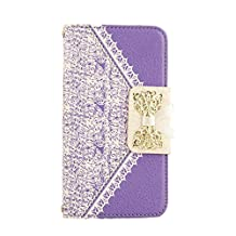 JBG Cute Bow Fresh Lace Magnetic Flip Full Body Protector Wallet Card Holder Case Cover PU Leather for Samsung Galaxy S5 i9600 Purple
