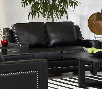 Pleasant Amazon Com Finley Loveseat In Black Leather Arts Crafts Inzonedesignstudio Interior Chair Design Inzonedesignstudiocom