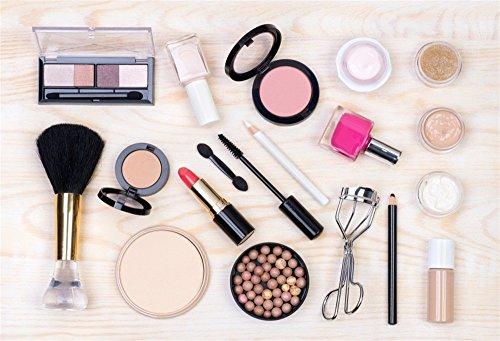 LFEEY 7x5ft Makeup Cosmetics Theme Backdrop Girl Lady Photoshoot Portrait Back Drop Beauty Lipstick Eyeshadow Mascara Eyeliner Eyelash Nail Polish Brush White Wooden Background for Photography