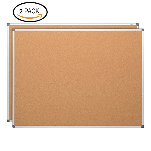 Learniture LNT-127-24362-SO Natural Cork Board w/Aluminum Frame, Brown (Pack of 2) by Learniture