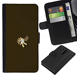 YiPhone /// Tirón de la caja Cartera de cuero con ranuras para tarjetas - Steampunk sproket - LG G3