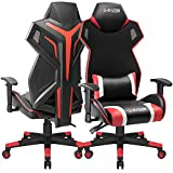 Homall Gaming Chair Racing Style Office Chair High Back Computer Desk Chair Ergonomic Swivel Chair Breathable Mesh Back Bucket Seat Chair with Adjustable Armrest 1 Pack (Red)