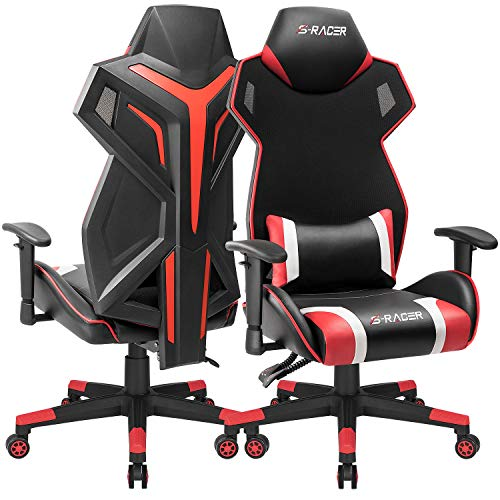 - Homall Gaming Chair Racing Style Office Chair High Back Computer Desk Chair Ergonomic Swivel Chair Breathable Mesh Back Bucket Seat Chair with Adjustable Armrest (Red, 1 Pack)