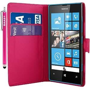 Baas-Funda de piel sintética tipo cartera con espacio para tarjetas, incluye lápiz capacitivo, 3 protectores de pantalla y 3 gamuzas para Nokia Lumia 520