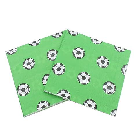 BESTONZON Servilletas de papel desechables de 80 piezas Toallas de fútbol impresas Servilletas de papel Servilletas