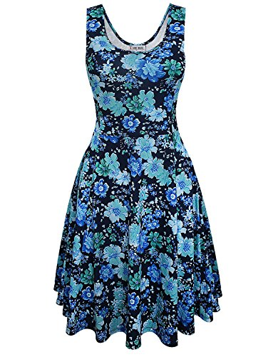 TAM WARE Womens Vintage Inspired Sleeveless Floral Dress