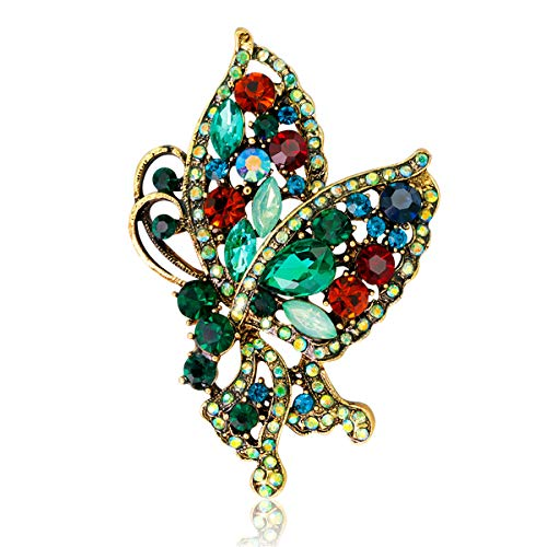 (Vintage Butterfly Brooch, Austrian Crystal Animal Brooches Pin Gift for Mother Anniversary Party Birthday)