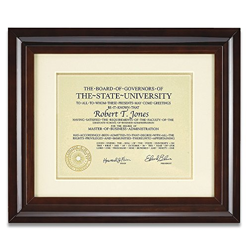 12x15 Hampton Collection Walnut Glazed Archival Document Frame With Warm White Mat For 8.5x11 Document Includes: UV Glazed Glass and Anti Aging Liner (Frame University Diploma)
