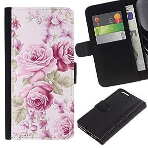 UberTech / Apple Iphone 6 PLUS 5.5 / Flowers Pink Old Vintage Lady Feminine / Cuero PU Delgado caso Billetera cubierta Shell Armor Funda Case Cover Wallet Credit Card
