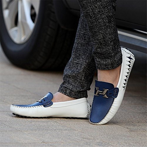 uomo Blue Fluores Men lusso in Zapatos pelle Uomo Shoes Mocassini Driving vera Loafers Espadrillas Slipon di blu wq5Zxwpr