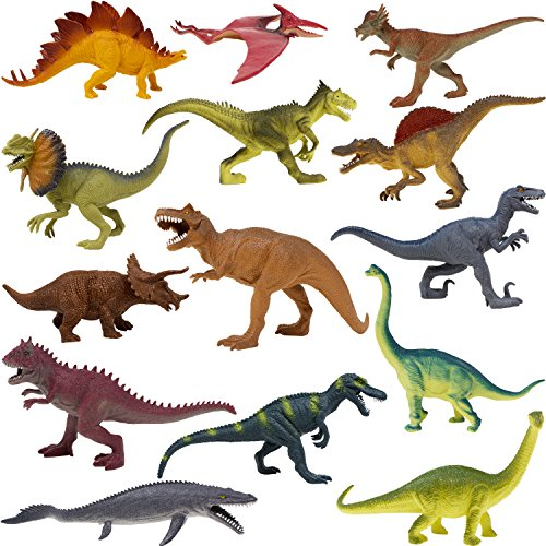 Boley 14 Pack 10'' Educational Dinosaur Toys - Kids Realistic Toy Jurassic Dinosaur Figures for Kids and Toddler Education! (T-rex, Triceratops, Velociraptor, etc) Great Gift Set and Party Favors! by Boley