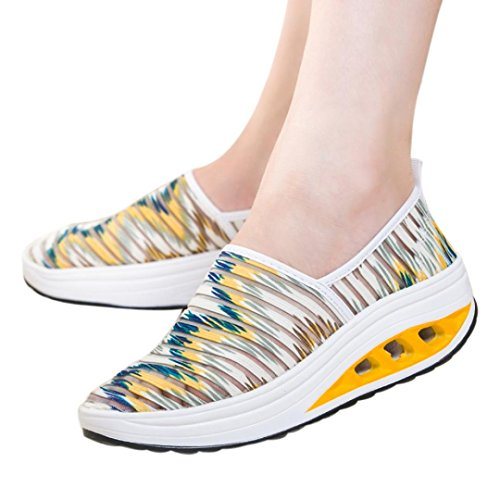 Sikye Yellow Shoes Girl Sport Shake Mesh Casual Air Lady's Women for Shoes Fitness Platform Hollow Sneaker RxrZwfR
