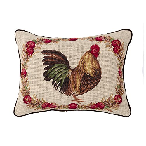 C&F Home Harvest Rooster Needlepoint Pillow 12 x 16 Red